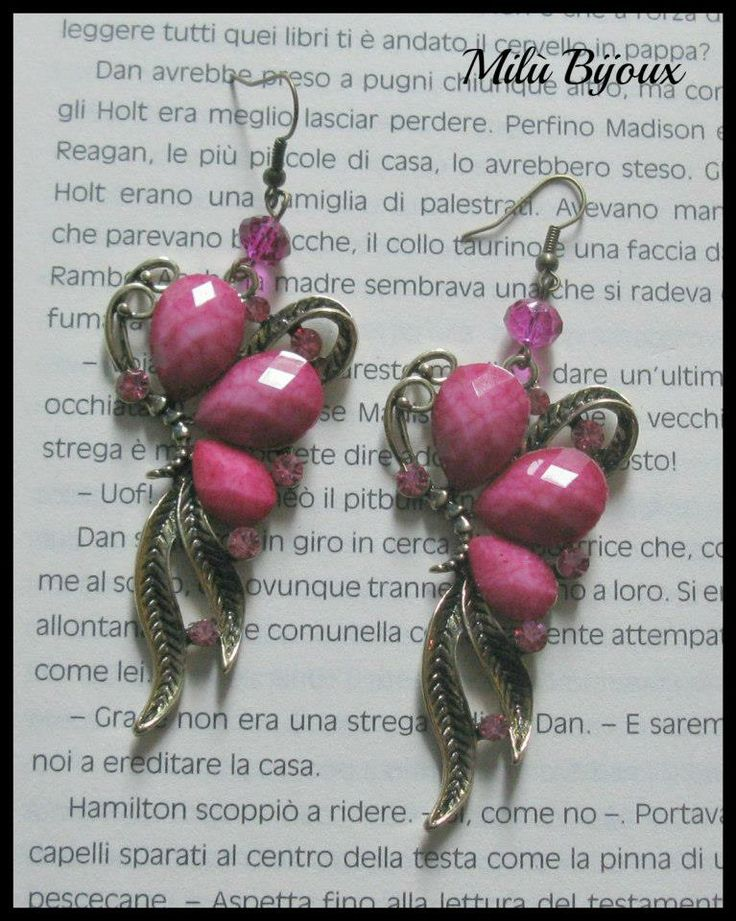 Butterflies bronze with pink stones and rhinestones