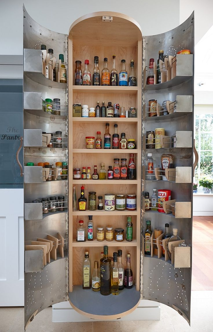 Brilliant kitchen pantry cupboard design inspired by recycled Indian tinware
