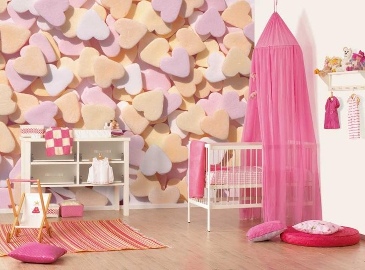 Leuk behang voor de #meisjeskamer met hartjessnoepjes | #Wallpaper with sweeties for the girl's #kidsroom