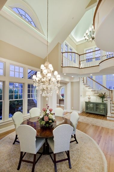 Gorgeous open dining area. Love the high ceilings.: Dining Rooms, Dining Area, Houses, Stairs, Window, Open Spaces, Open Floors Plans, High Ceilings, Round Tables