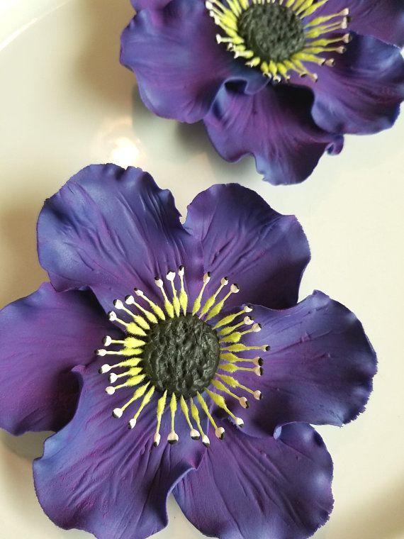 Gum Paste Anemones Regal Purple Flowers Set Of 2 Edible Etsy Purple Flowers Anemone Flower Anemone