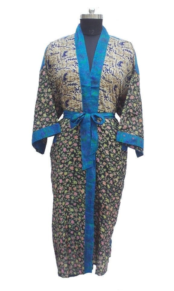Indian Silk sari Women Dress Silk Sari Dress Vintage Silk Sari Kimono Dress nightdress swimwear beachwear recycle vintage silk Sari kimono