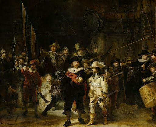The Night Watch, Rembrandt Harmensz. van Rijn, 1642.   Rembrandt's largest, most famous canvas was made for the Arquebusiers guild hall. This was one of several halls of Amsterdam's civic guard, the city's militia and police.   Rembrandt was the first to paint figures in a group portrait actually doing something. Rembrandt used the light to focus on particular details, like the captain's gesturing hand and the young girl in the foreground. She was the company mascot. www.rijksmuseum.nl