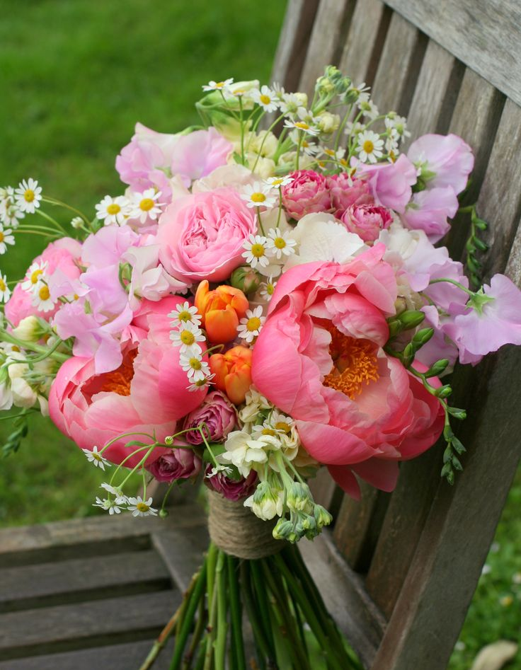 Natural Bridal Bouquet With Coral Charm Peonies Daisies Sweet Peas Roses Tulips