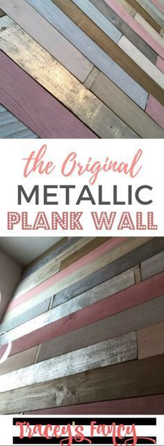 The First Ever Metallic Wood Plank Wall - Traceys Fancy - Girls Nursery Ideas - Feature Wall Ideas - Rustic Glam - Pink, Gold and Silvers