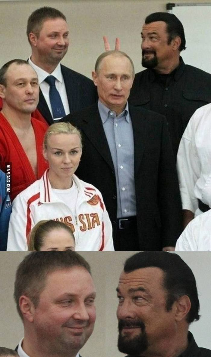 Steven Seagal Gives Vladimir Putin Bunny Ears Steven Seagal Funny Pictures Funny Memes
