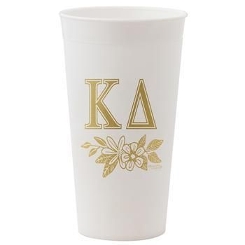 Kappa Delta Sorority White and Gold Tumbler - Brothers and Sisters' Greek Store