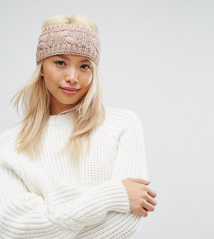 Stitch & Pieces Knitted Cable Headband in Pink - Pink