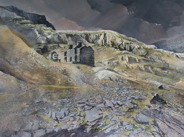 Malcolm Edwards. Cwmorthin. Original Work. Watercolour on paper. 37 x 45 cm.