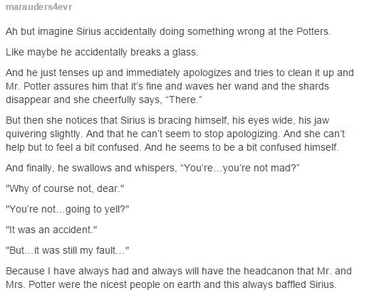 Sirius Black and Mrs. Potter, my head canon parenting role models, people!