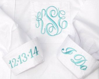 Blue Bridal Party Shirt Monogrammed Button by PrettyPersonalGifts