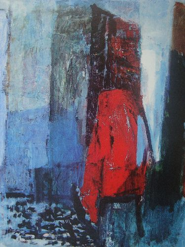 A later painting by Tove Jansson in a more modern style. A red coat hangs on a chair
