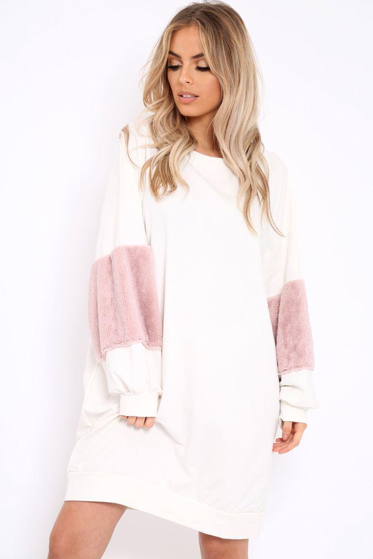 Cream Jumper Dress with Fur Sleeves - Paris
