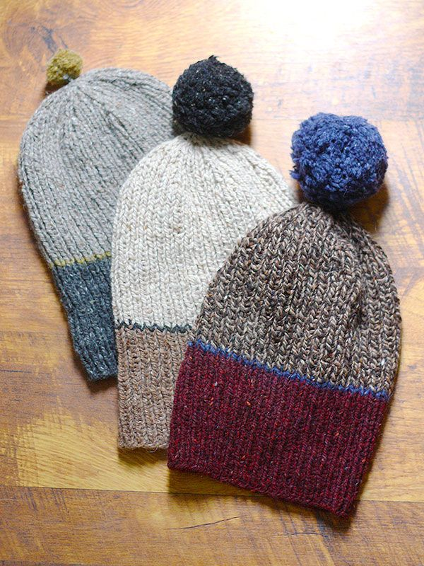 Worked in a 1x1 rib with fun stripes and an optional pom-pom, these Family Hats can be knit up in no time at all.  This free pattern is available exclusively as a print-friendly PDF file - it's easy to read and requires less paper when printed. To download the pattern, just click the PDF link above. Trouble getting the PDF? Make sure you've downloaded the latest version of the freeAdobe Reader software.