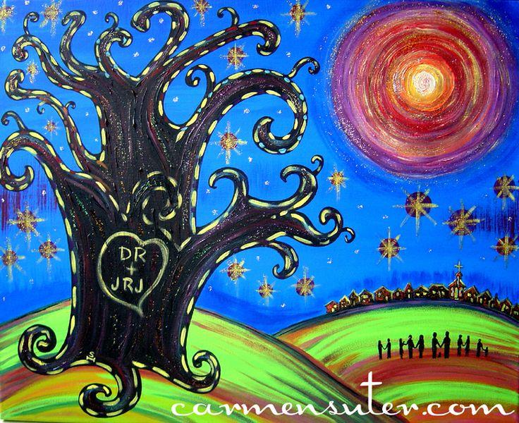 "Custom Family Tree - 30"" x 24"" Acrylic on Canvas - Painting by Carmen Suter"