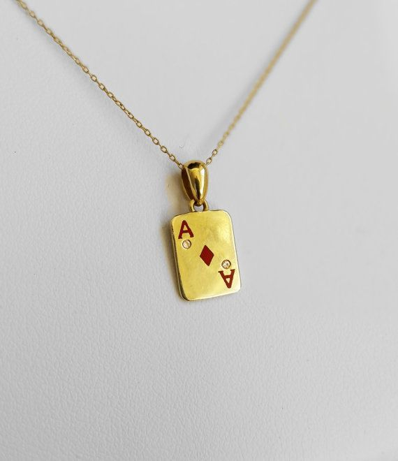Poker pendant, I found this really awesome Etsy listing at https://www.etsy.com/il-en/listing/259001248/poker-gifts-ace-pendant-with-two