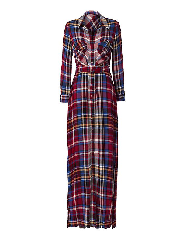 L'Agence Cassie Plaid Maxi Shirtdress: A chic look in plaid with a collar…