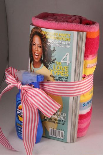 Beach themed gift: beach towel, book or magazine, sunscreen, maybe an Izzy drink or other specialty drink