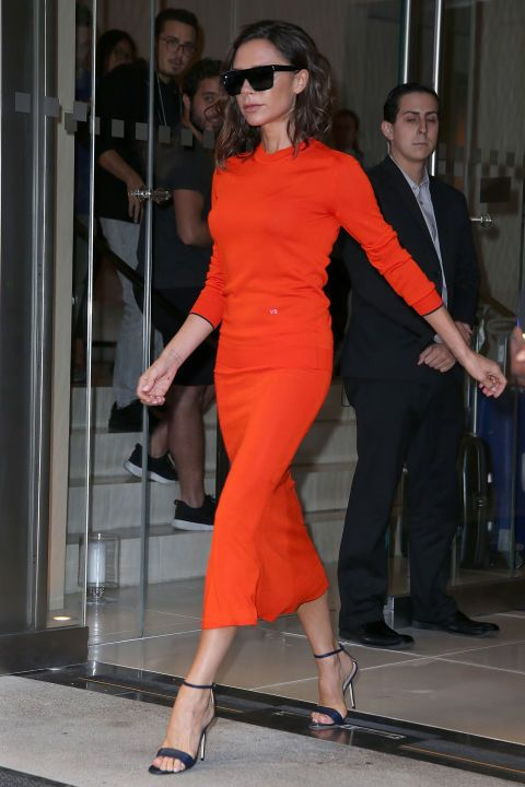 Victoria Beckham is rarely seen in anything other than Victoria Beckham. Her faith in and love of her own designs not only help her be one of the most stylish women in the world, but likely greatly aid her business as well.