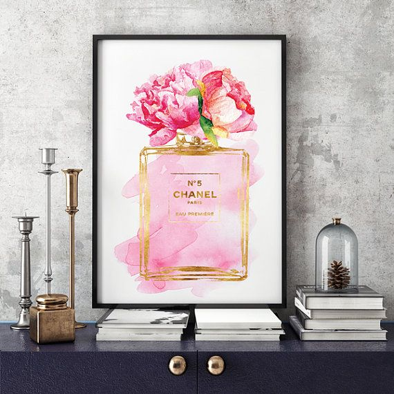 Chanel No5 poster A3 Pink Peony watercolor Gold effect Digital download Coco Chanel no5 Chanel poster Chanel Art Printable fashion art print