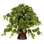 28 in. H Green Pothos with Bamboo Vase Silk Plant