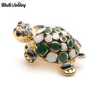 Маленький милый зеленый эмаль Черепаха Брошь мужские и женские костюмы Воротник Дети животных Брошь Pins подарки