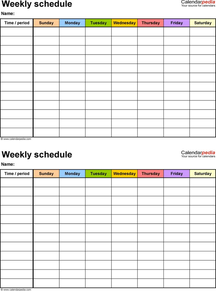 Weekly schedule template for Word version 15: 2 timetables on one page, portrait, Sunday to Saturday (7 day week), in color