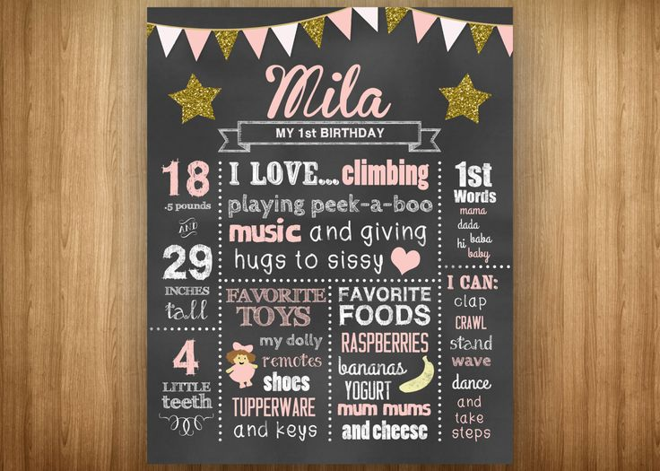 Pale Pink Star 1st Birthday Chalkboard Poster Twinkle Twinkle Little Star Gold Pale Pink Light Pink White Girl Stats Favorites Weight Height by 3littlebirdsprints on Etsy https://www.etsy.com/listing/215312357/pale-pink-star-1st-birthday-chalkboard