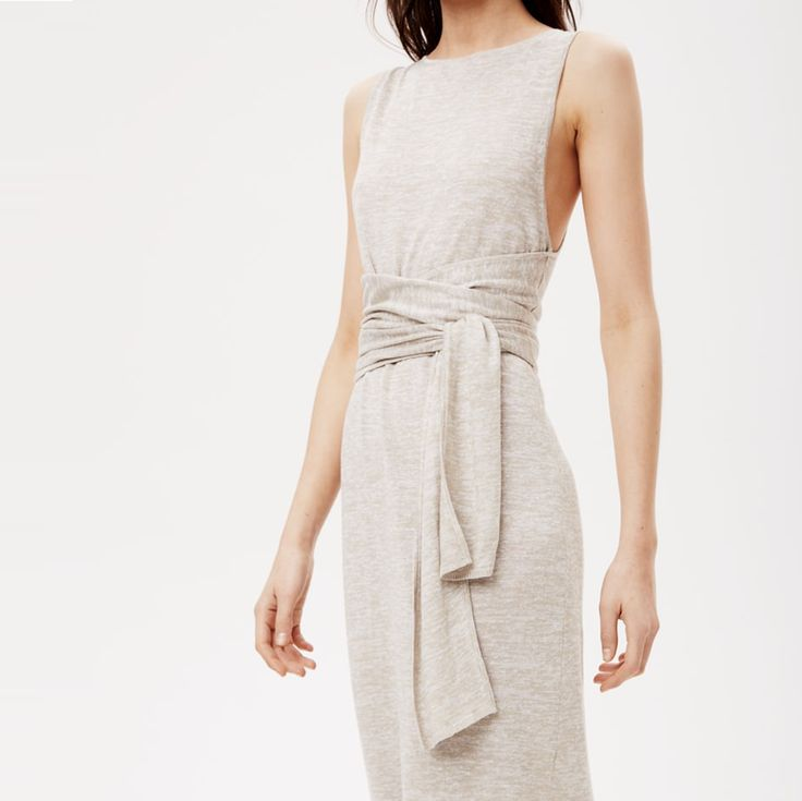 Theory Linen Knit Tie Waist Dress With Wide Ties At The