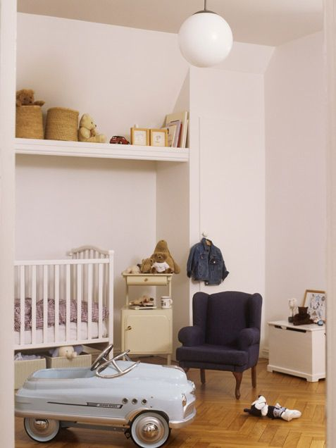 A French wing chair and vintage car are shrunk down to the perfect size for your little man