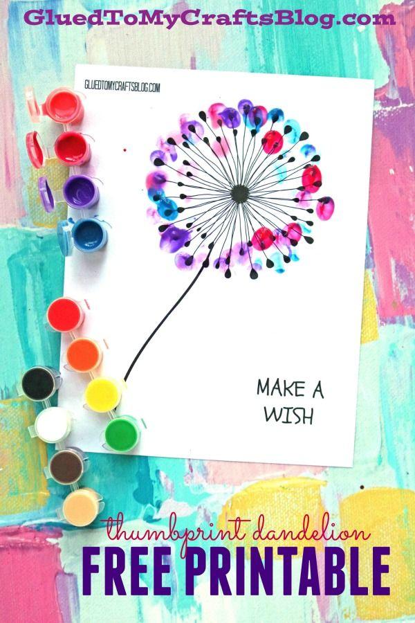 Thumbprint Dandelion Kid Craft W Free Printable Family Fun