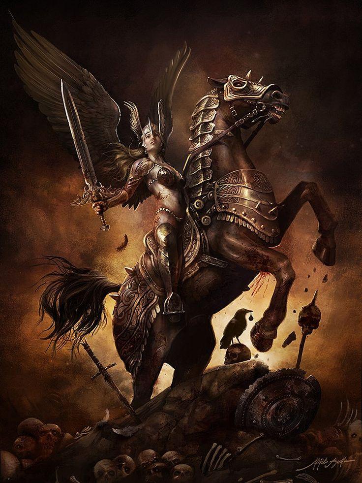 """Valkyrie En la mitología nórdica, una valquiria (del nórdico antiguo valkyrja """"selector de los muertos"""") es una de una serie de figuras femeninas que deciden quién muere y gana en la batalla. Eligen entre la mitad de los que mueren en la batalla (la otra mitad va al campo más allá de la diosa Freyja Fólkvangr), las valquirias traen su elegido para la sala más allá de los muertos, Valhalla, gobernado por el dios Odin. Más"""