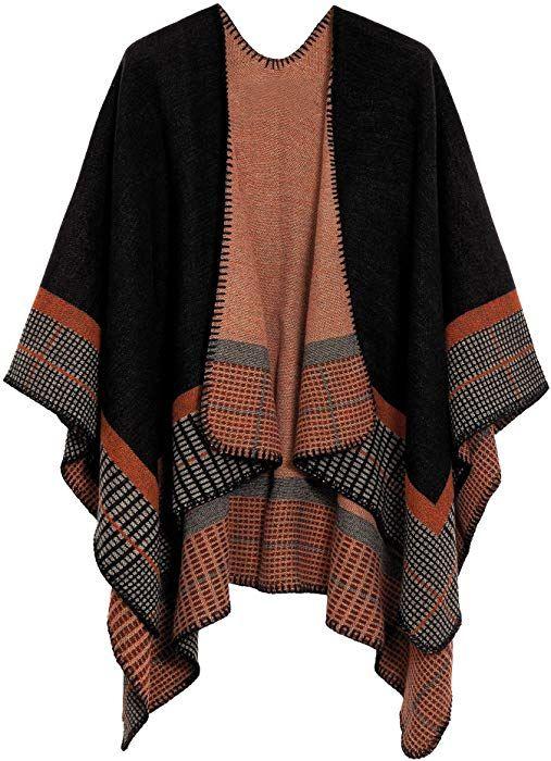 1e71de42ca263 Urban CoCo Women s Color Block Shawl Wrap Open Front Poncho Cape (Series  20-Black) at Amazon Women s Clothing store