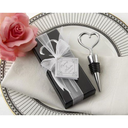 Chrome Heart Bottle Stopper in Showcase Display Box (pack of 50) . $178.95. Capture the hearts of your guests with this elegant, contemporary and practical bottle stopper topped with the definitive symbol of love.   The sleek, openwork heart expresses the moment like nothing else can. The heart bottle stopper in its exquisite showcase gift box adds sophistication and sparkle to your table decor.   This bottle stopper is solid chrome, with a notable weight and l...