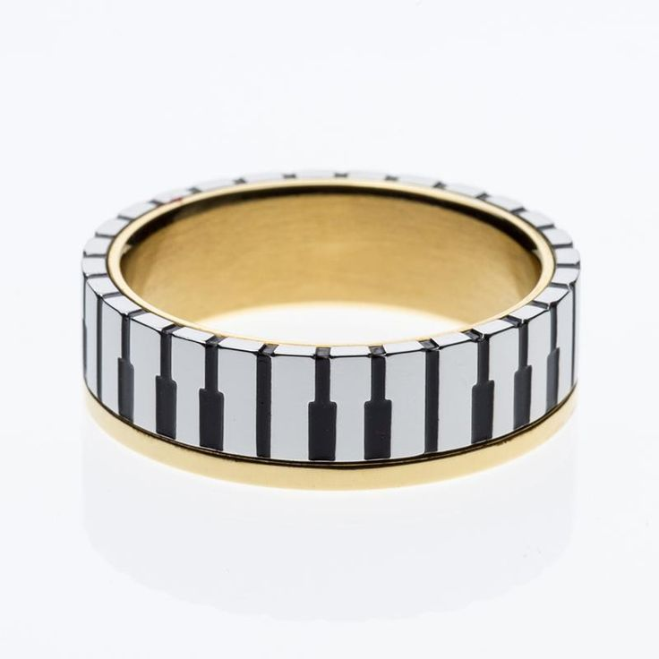 Wallmart.win 7mm Wide Men Women's Gold Color Music Piano Keyboard Wedding Band Ring for Music Lovers & Pianist Available Sizes 5-10:…