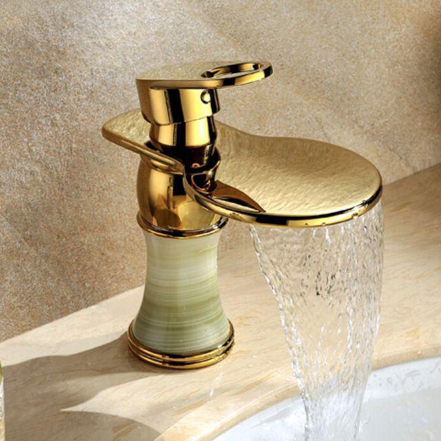 Tek kolu antika mermer altın-kaplama banyo musluk bakır şelale musluk sıcak ve soğuk su musluk
