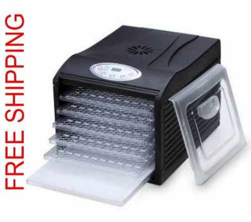 This Samson Food Dehydrator has 6 trays, 6 mesh screens, clear window, the controls on the front and operates extremely quietly. http://www.veggiesensations.com/products/samson-food-dehydrator-sm-106b