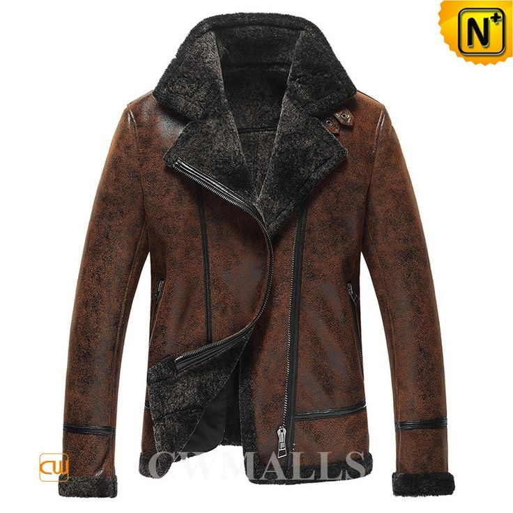 Mens B-3 Bomber Sheepskin Jacket CW861276 Mens designer brown sheepskin jacket, natural sheepskin shearling material gives it a vintage look, notched collar, asymmetrical zip closure, leather buckle at the collar, and lamb fur trims, these make a perfect winter sheepskin jacket. www.cwmalls.com PayPal Available (Price: $1457.89) Email:sales@cwmalls.com