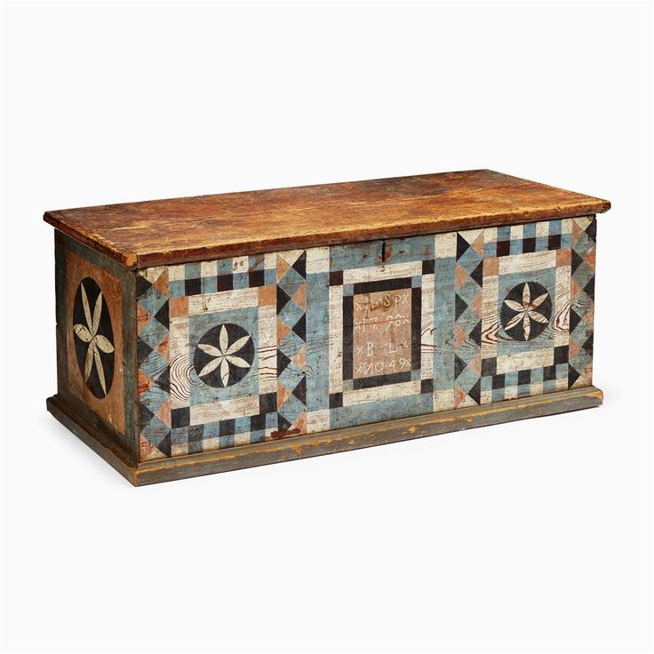 Decorated Pine Blanket Chest By Johannes Spitler