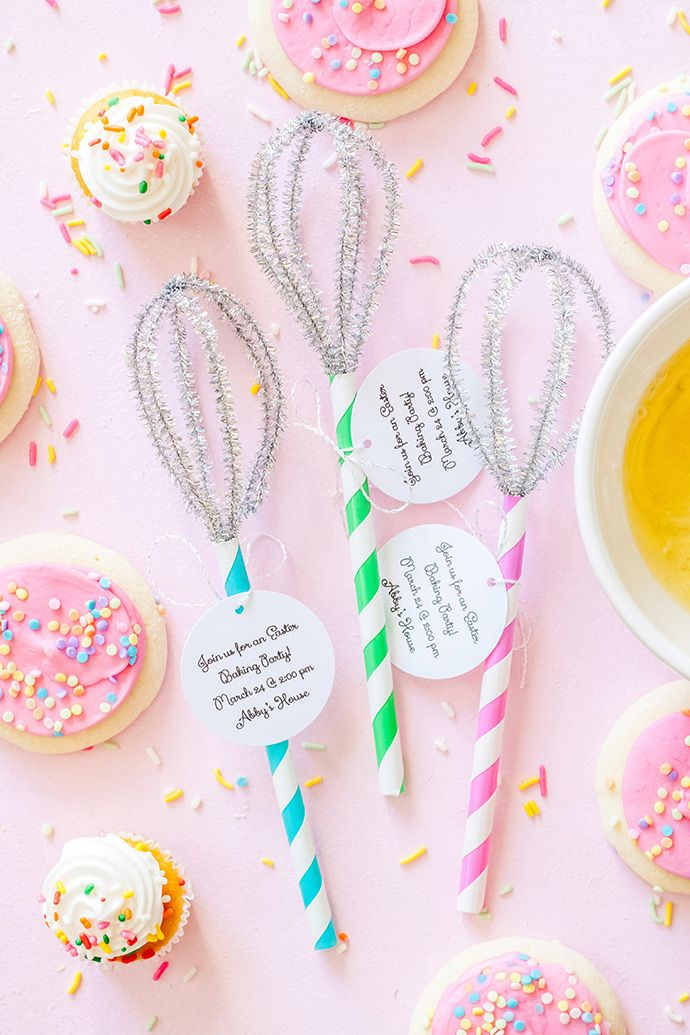 Invite friends to an Easter baking or cookie-decorating party with some handmade whisk invitations!