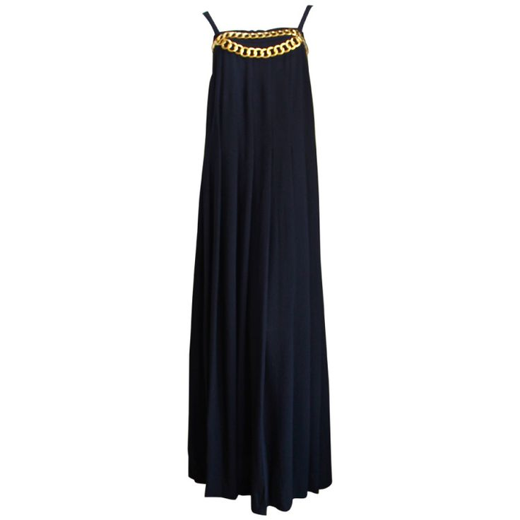 7fabe5e3941 1980 s CHANEL black floor length hand-pleated gown with chain detail