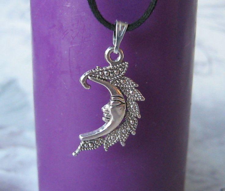 Tibetan Moon Necklace Choker Handmade Black Flat Suede Pendant Witch Pagan New | eBay