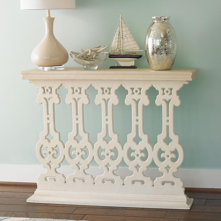 $249 White Silhouette Scroll Console 44 1/2W x 33 1/2H x 12D, MDF, attach to wall for additional support.