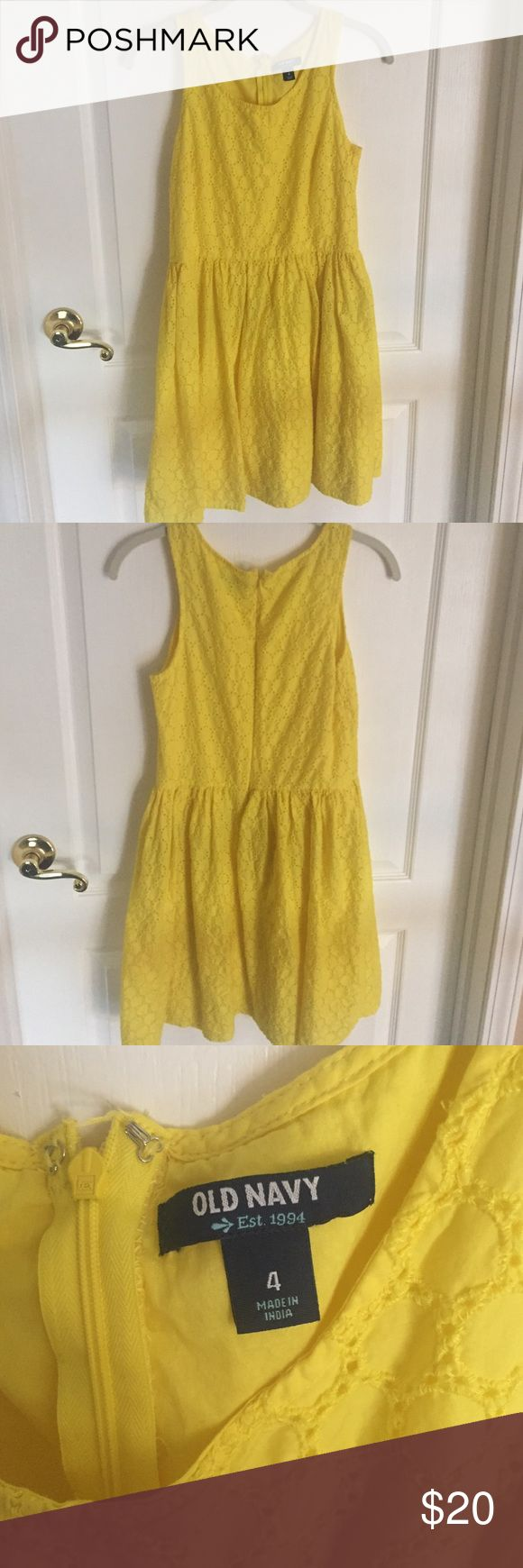 Old Navy yellow tank top dress with circle pattern Size 4 Old Navy yellow tank top peplum dress with circle pattern. Worn once. Old Navy Dresses Mini