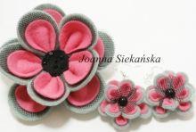 broszka szaro-różowa z tiulem plus kolczyki