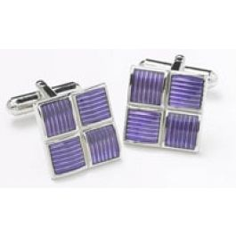 Square Purple and Chrome Cufflinks - Square Purple and Chrome cufflinks end the cuff off nicely!