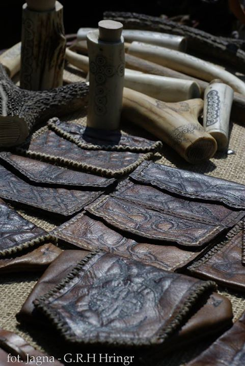 """HISTORICAL Early medieval leather """"wallets"""". Reconstructions crafted using medieval tools and  materials, impregnated with wax/fat mix. The bone/antlery crafts are not mine."""