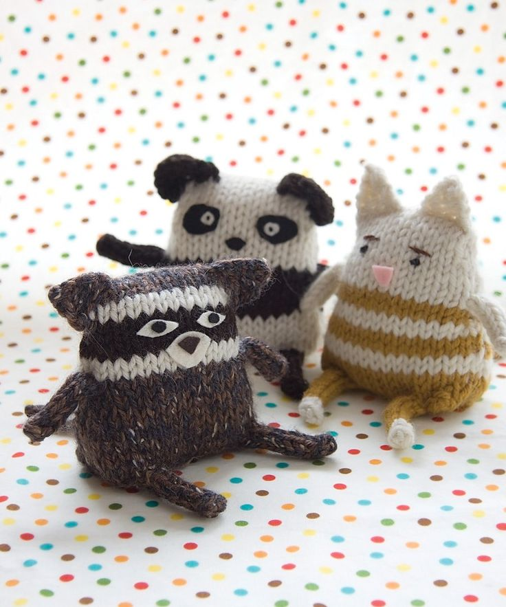 So fun to make. Racoon, Panda, Tabby Cat. Friendly Critter knitting pattern from Idiot's Guide Knitting. The pattern is easily adapted to invent your own critter