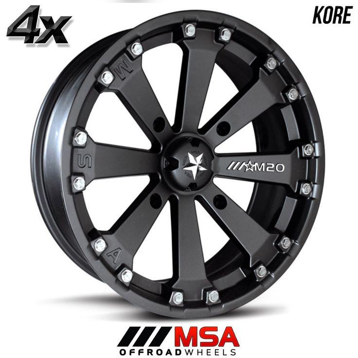 4 MSA KORE 14x7 4x110.00 Flat Black OFST:0mm 14 Inch Rims 14X7 Wheels