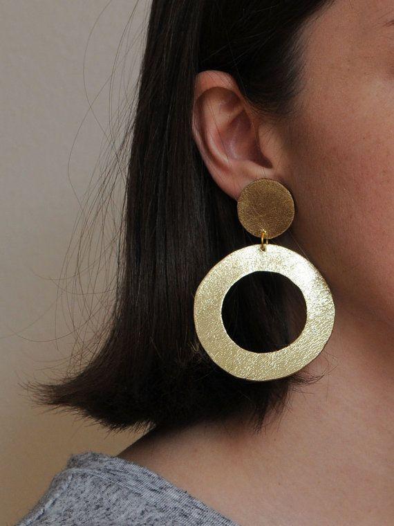 Handmade gold leather hoop earrings by BenuMade on Etsy